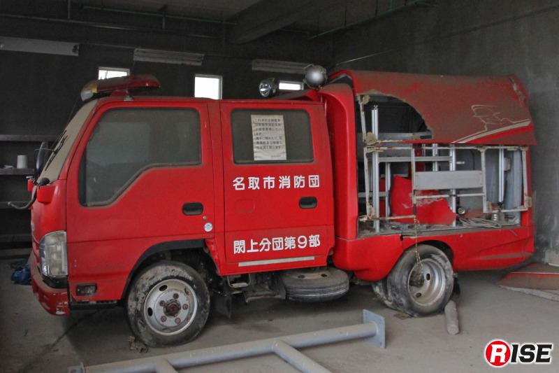 閖上分団第9部の消防団救助資機材搭載型車両は痛々しい姿のまま、現在も保管されている。