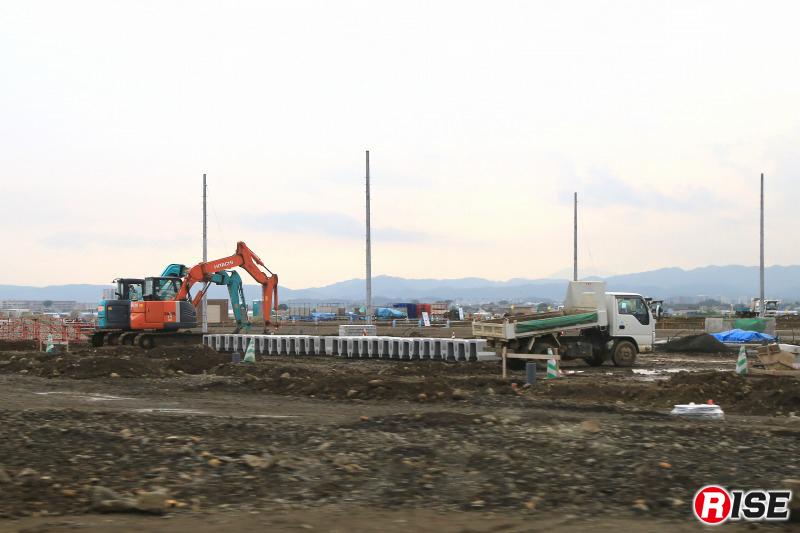 かさ上げを行い、宅地造成が行われている。5年が経過した今でもこの段階までしか進んでいない。