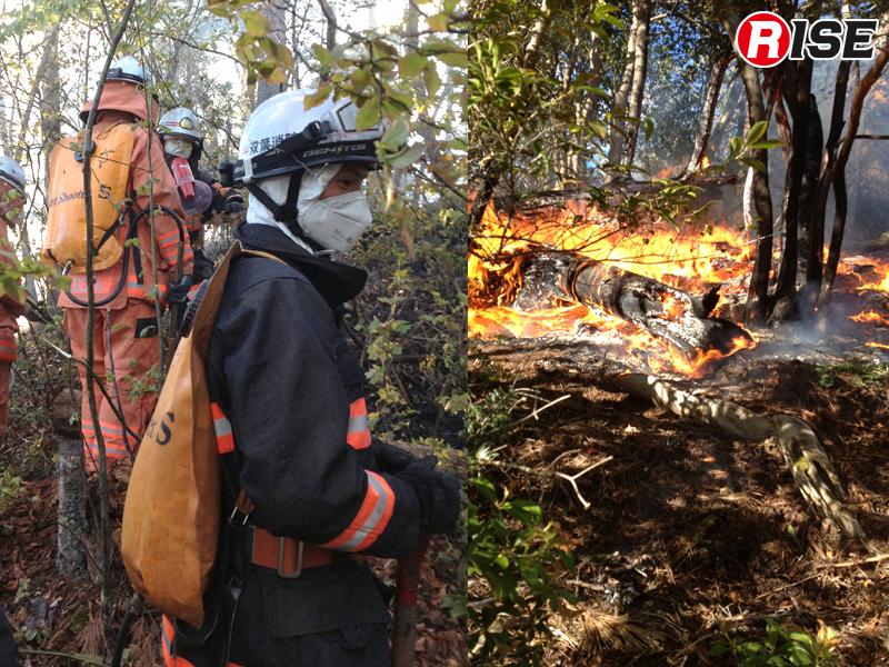 避難指示区域内の山中で火災が発生。水利がなく車両も接近不能であることからジェットシューターとスコップにて鎮火させた。