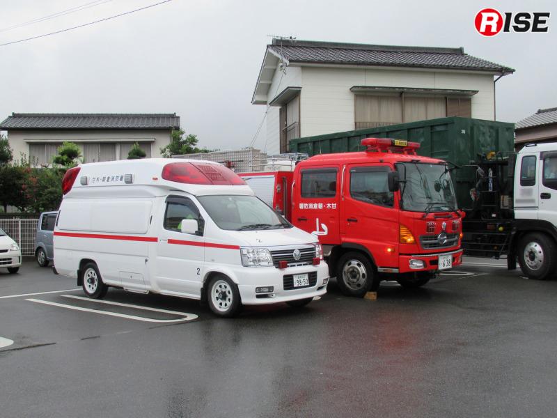 警戒活動を行う甘木・朝倉消防本部の部隊。