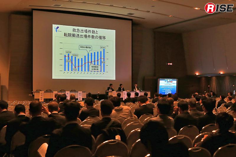 千葉市にある幕張メッセで開催された「第26回全国救急隊員シンポジウム」。全国各地から延べ8,603名が参加した。
