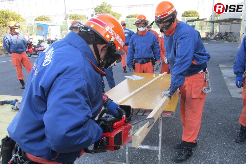 チェーンソーなどを駆使して木材を切り出す。