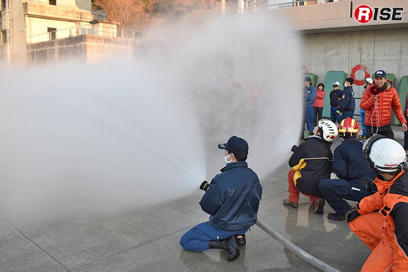 噴霧放水による視界の変化なども学ぶことができた。