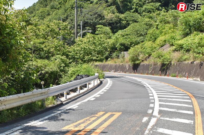 1年後:大型土のう等により流出地盤を原状回復。路面は真新しいアスファルトで覆われ、ガードレールも付け替えられた。