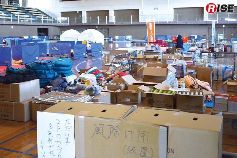 避難所の状況。日中はそれぞれが片付けなどに出ているため閑散としていた。
