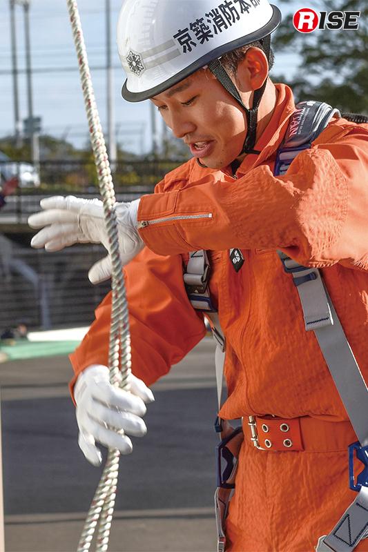 ロープの流れを整える。