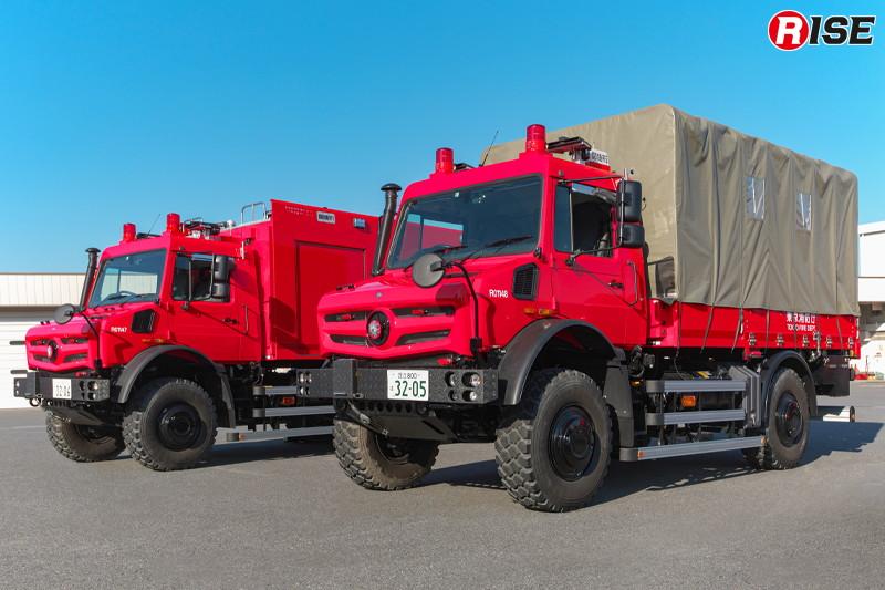 ウニモグをベースとした高機動救助車「活動型」(写真左)と「搬送型」(写真右) [写真提供:東京消防庁]