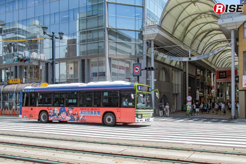 広島中心部エリア3号線、広島駅~紙屋町~市役所~観音マリーナホップ・広島ヘリポートのルート運行中。