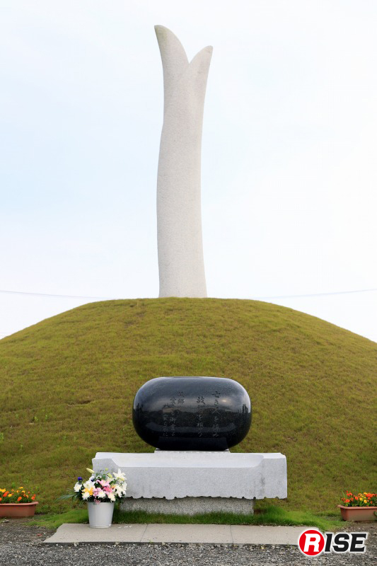 慰霊碑。震災により犠牲になられた方が天に昇っていくイメージを表すと共に、震災を克服し、復興に向けた決意を新たにする気持ちを込め、「種の慰霊碑」から発芽した「芽生えの塔」が上へ上へと伸びていく姿を表現している。 このエリアは慰霊碑と同じ高さ(8.4m)の津波が押し寄せた。