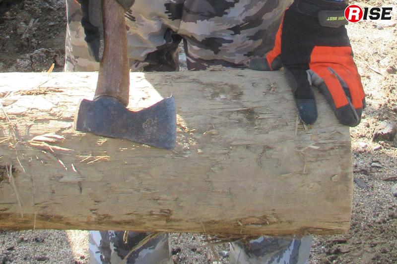 チェーンソーでの切断前に、手斧で切断部の土砂を削ぎ落す。