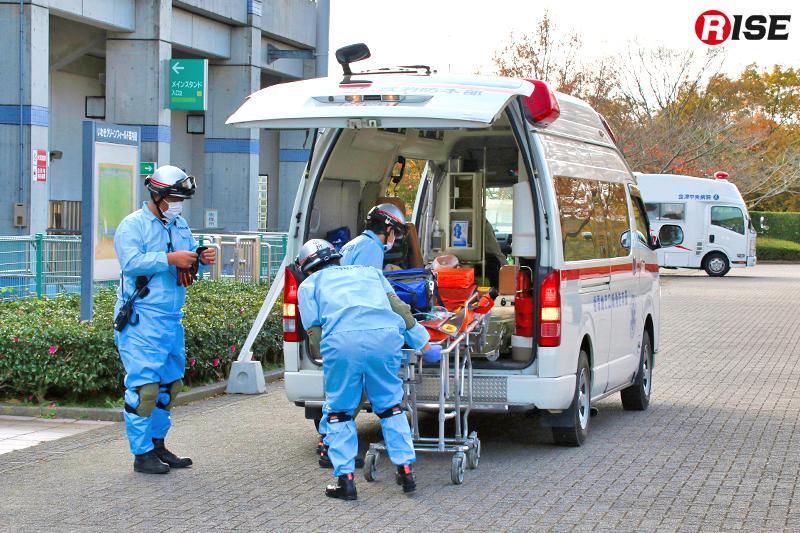 各会場で救出された要救助者は救急隊によりトリアージ及び応急処置が行われ、仮想病院へ搬送する。