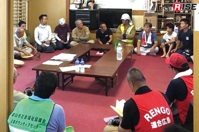 毎日実施した矢野東7丁目天神町内会ボランティアセンターでのミーティング。