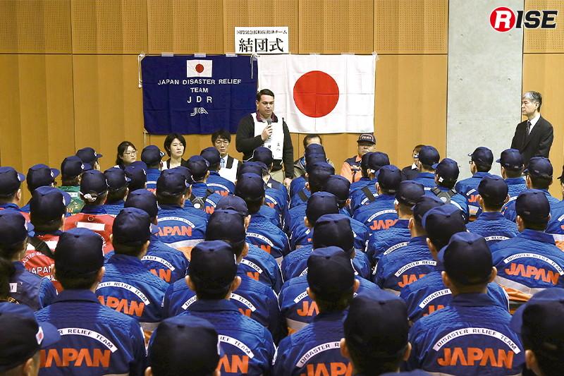 全隊員が参加しての結団式の様子。