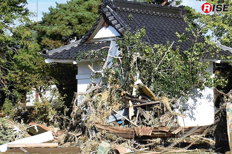 決壊場所付近の寺院。根を洗い流された巨木や漂流物が建物に引っ掛かるように止まっている。