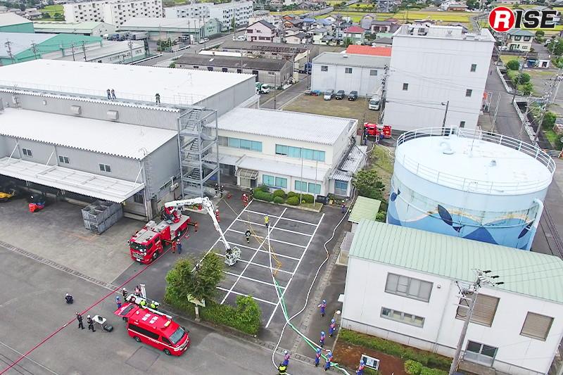 水産加工団地内火災防御訓練でのドローン隊による情報収集。