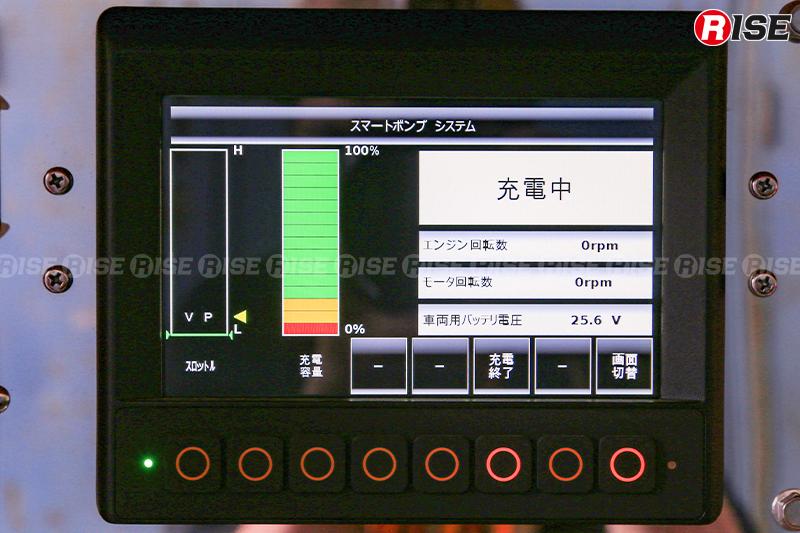 充電中の液晶操作パネル表示。エンジンとモータがそれぞれ停止していることがわかる。